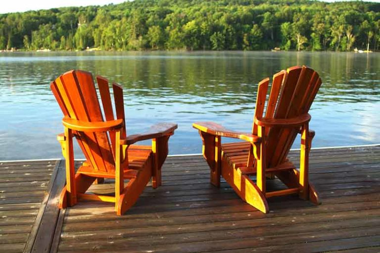 Chairs overlooking lake